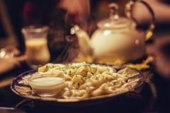 Pelmeni tradicional do russo Foto de Stock