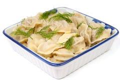 Pelmeni - traditional russian dish Royalty Free Stock Photography