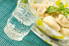 Pelmeni and vodka Royalty Free Stock Photo