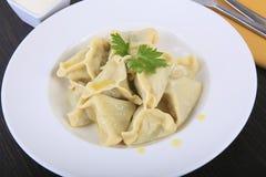 Pelmeni in white plate Stock Images