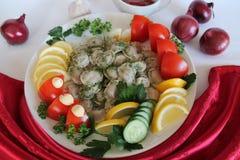 Pelmeni. In white plate pelmeni with lemon tomato cucumber parsley dill Stock Photography