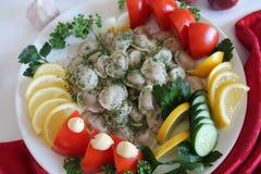Pelmeni. In white plate pelmeni with lemon tomato cucumber parsley dill Stock Photos