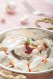 Pelmeni and Yogurt Stock Photos