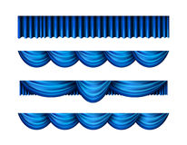 Pelmet blue curtains vector set Royalty Free Stock Photography