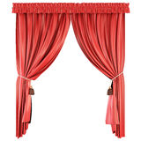 Pelmet isolated on white background. Red curtains. Stock Photography