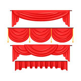 Pelmet red curtains set for theatre interior vector Illustration Royalty Free Stock Photos
