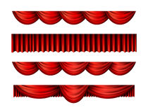 Pelmet red curtains vector set Royalty Free Stock Images