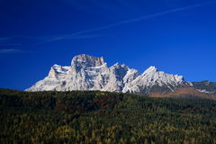 Pelmo Mount Dolomite. View of the Pelmo Mount from the town of Borca di Cadore at the Dolomite Alps (Italy Royalty Free Stock Photography