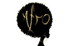 Pelo afro rizado, mujeres africanas del retrato, cara femenina de la piel oscura con el afro del pelo rizado, pendientes de oro t stock de ilustración