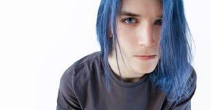Pelo azul, ojos azules Imagen de archivo