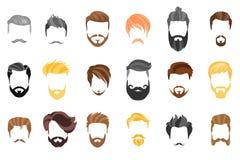 Pelo, barba y cara, pelo, colección plana de la historieta del recorte de la máscara Vector el peinado, el ejemplo, la barba y el ilustración del vector