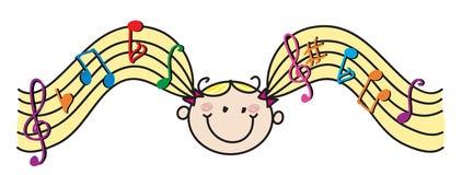 Pelo de la música de la muchacha Foto de archivo libre de regalías
