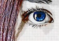 Pelo del ojo azul y del rojo Imagenes de archivo