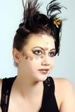 Pelo loco y maquillaje Imagen de archivo