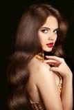 pelo maquillaje Muchacha morena hermosa con los pelos brillantes ondulados largos Imagen de archivo libre de regalías