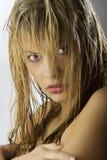 Pelo mojado en cara Imagen de archivo