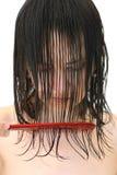 Pelo mojado en la cara Fotos de archivo libres de regalías