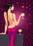 Pelo negro de la señora de la muchacha que retrocede en el club con un vidrio del ejemplo del vector del vino del champán stock de ilustración