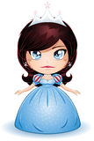 Pelo negro de princesa With en alineada azul Imagen de archivo libre de regalías
