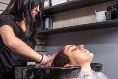 Pelo que se lava del estilista moreno joven del cliente femenino con h teñido Foto de archivo