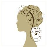 pelo rizado de la muchacha del perfil - bobinas del individuo   ilustración del vector