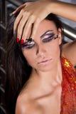 Pelo y retrato fuertes del maquillaje Fotografía de archivo