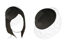 Pelo y sombrero negros del color Maniquíes, para entrenar Foto de archivo