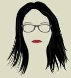 Pelo y vidrios de la mujer Imagenes de archivo