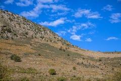 Peloponnese equilibrium mountain landscape. Peloponnese Abstract mountain landscape of earth and sky in equilibrium stock photo