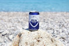 The greek beer Fix at the beach Lakonia Peloponnese Greece Stock Photos