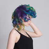 Pelos coloreados Retrato de mujeres hermosas con los pelos y los diamantes artificiales del vuelo Ombre gradiente imágenes de archivo libres de regalías