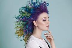 Pelos coloreados Retrato de mujeres hermosas con los pelos y los diamantes artificiales del vuelo Ombre gradiente imagen de archivo libre de regalías