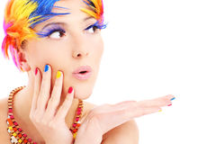 Pelos de la cara y del color de la mujer Foto de archivo libre de regalías