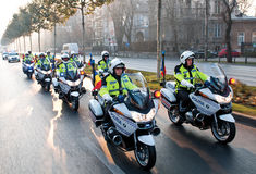 Pelotón de la motocicleta de la policía Imagen de archivo libre de regalías