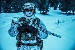 Pelotón de soldados en bosque del invierno Fotos de archivo