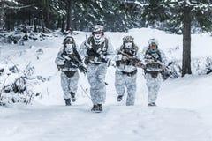 Pelotón de soldados en bosque del invierno Fotos de archivo libres de regalías