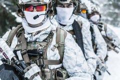 Pelotón de soldados en bosque del invierno Foto de archivo libre de regalías