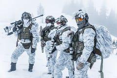 Pelotón de soldados en bosque del invierno Imagenes de archivo