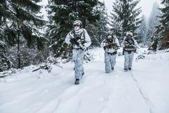 Pelotón de soldados en bosque del invierno Foto de archivo