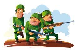 Pelotón de tres soldados stock de ilustración