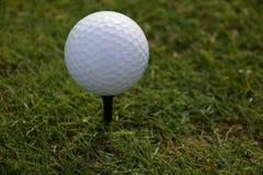Pelota de golf blanca en una camiseta Imagen de archivo libre de regalías