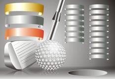 Pelota de golf con el club de golf con con la carta de los ganadores Imagen de archivo libre de regalías