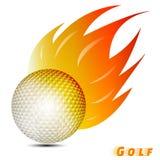 Pelota de golf con el tono rojo del amarillo anaranjado del fuego en el fondo blanco club del logotipo de la pelota de golf Vecto Imagen de archivo libre de regalías