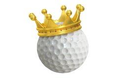 Pelota de golf con la corona del oro, representación 3D Imagen de archivo