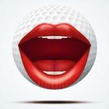 Pelota de golf con una boca femenina que habla Imagen de archivo libre de regalías