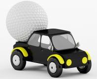 pelota de golf 3D en un coche negro Imagenes de archivo
