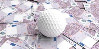 pelota de golf de la representación 3d en 500 billetes de banco de los euros Foto de archivo