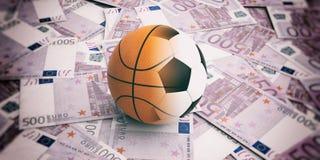 pelota de golf de la representación 3d en 500 billetes de banco de los euros Imagenes de archivo