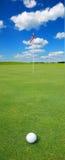 Pelota de golf delante de la bandera Fotos de archivo libres de regalías