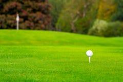 Pelota de golf en camiseta Fotografía de archivo